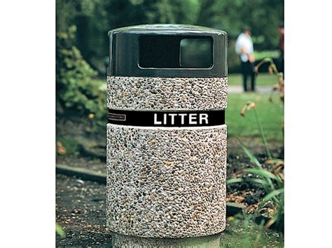 Dover Robust Concrete Litter Bin with LITTER Banding