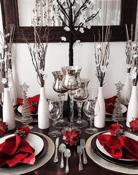 red white  silver christmas table decorations