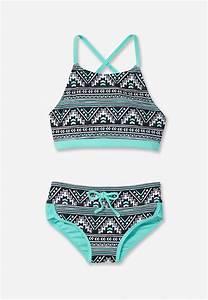 Pinto Print High Neck Bikini Swimsuit (original price, $29 ...