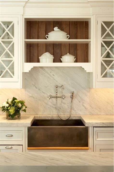 Kitchen With Carrera Marble Backsplash & Countertop With