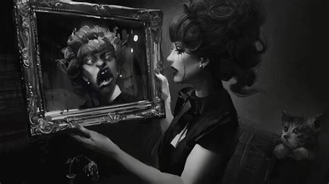 Scary Wallpaper Black And White by Scary Reflection Mirror Horror Females
