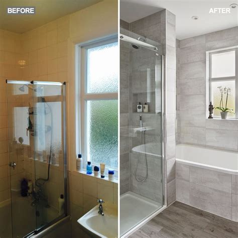 modern grey bathroom makeover  separate shower  bath