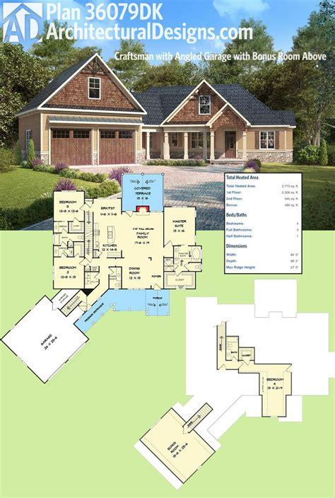 plan dk craftsman  angled garage  bonus room  garage house plans craftsman