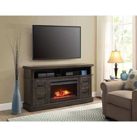 whalen fireplace tv stand whalen weathered pine media fireplace console for tv
