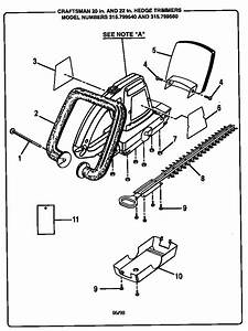 Craftsman 315799540 Hedge Trimmer Parts