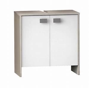 Meuble Salle De Bain Sous Lavabo : meuble sous lavabo hawai chene champagne blanc ~ Farleysfitness.com Idées de Décoration