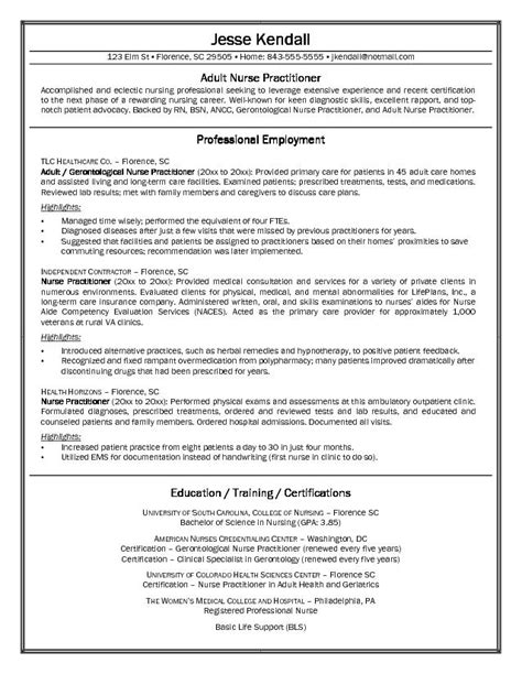 Writing A Nursing Curriculum Vitae by Exle Practitioner Resume Free Sle