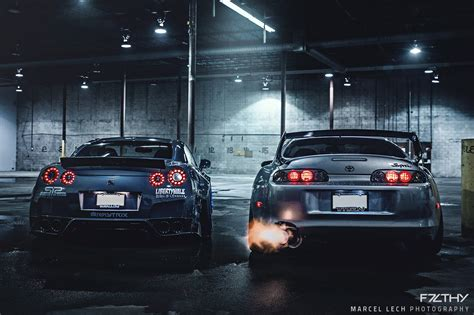 Gtr Shooting Flames Wallpaper by Liberty Walk Gtr And A Looking Toyota Supra