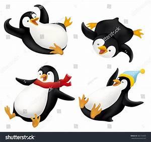 Set Sliding Penguins Illustration Stock Vector 362152469 ...