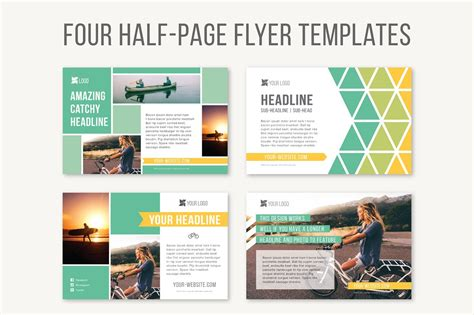 one page flyer template four half page flyer templates templates creative market