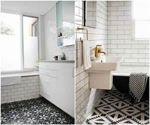 carrelage salle de bain noir et blanc duo intemporel With carrelage salle de bain blanc