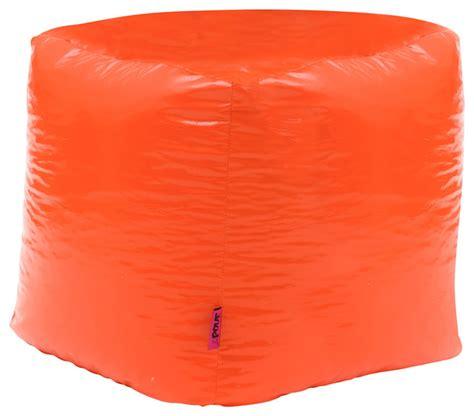orange vinyl square bean bag contemporary