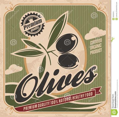 cuisines vintage retro olive poster design stock photo image 33025910
