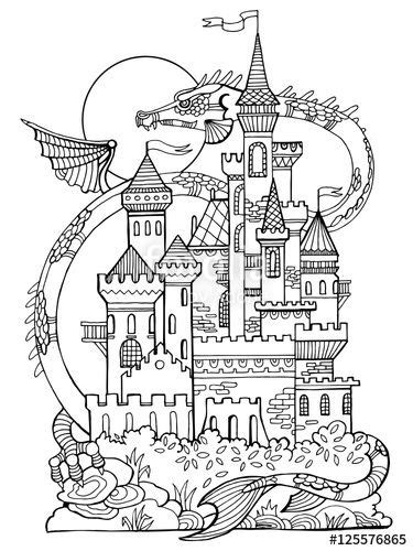 Castle and dragon coloring book page by Alexander Pokusay