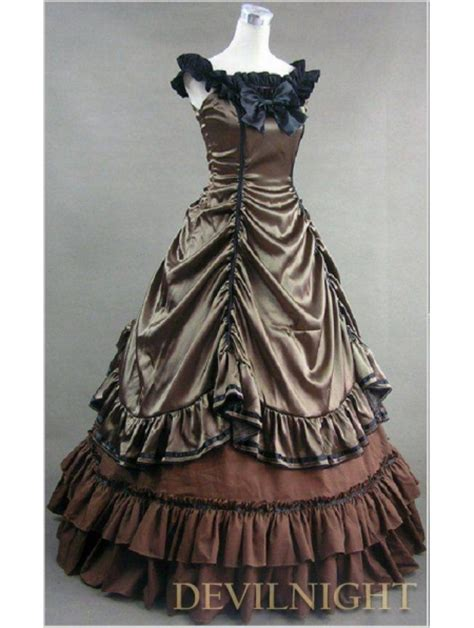 brown sleeveless gothic masquerade ball gowns devilnight