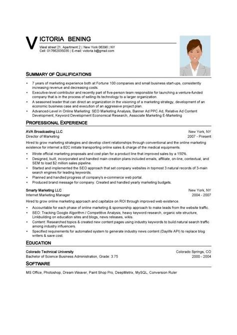 Sle Resume Templates Word by Resume Template Word Fotolip