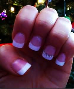White French Tip Nail Designs with Rhinestones
