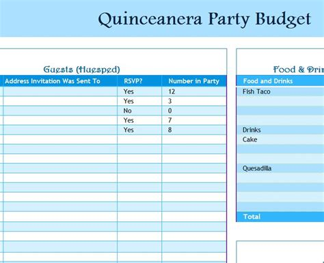 quinceanera party budget  excel templates