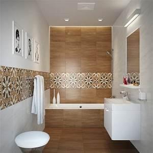 carrelage salle de bain imitation bois 32 idees modernes With carrelage sur plancher bois salle de bain