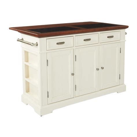 inspired  bassett farmhouse basics white kitchen island  vintage oak  granite top bp