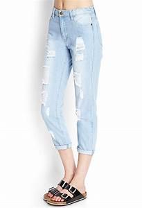 Forever 21 Ripped Boyfriend Jeans in Blue | Lyst