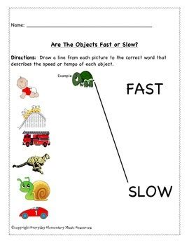fast slow tempo assessment worksheets  everyday