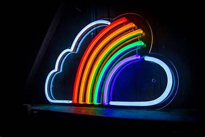 Rainbow Led Cloud Neon Signs Aesthetic Right