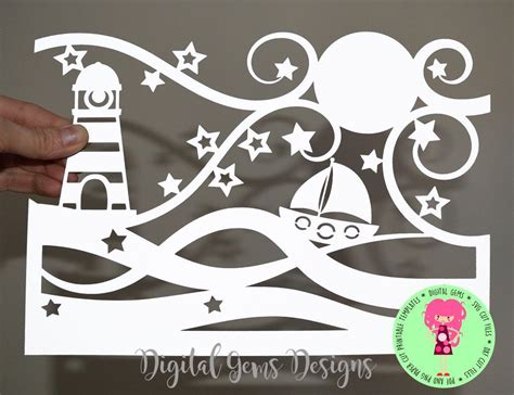 ocean paper cut svg dxf eps files   png