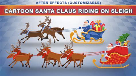 Cartoon Santa Claus Riding On Sleigh By Flicfland