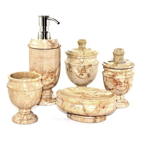 rustic sahara beige marble  piece bathroom accessory set