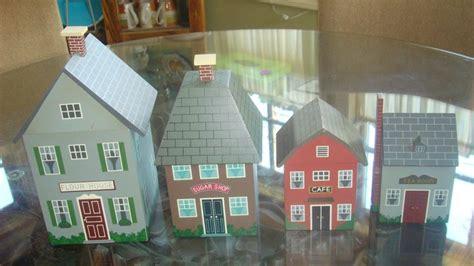 vintage wooden house village canister set vguc wooden