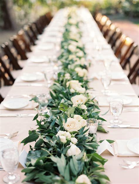 garland  white rose table runner centerpiece