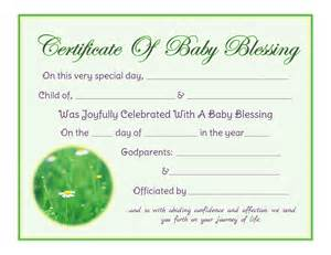 Baby Blessing Certificate Free