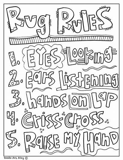 Rug Coloring Rules Classroom Doodles Clip Carpet