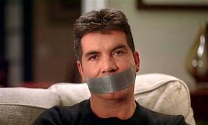 Simon Cowell finally silenced as his mouth is duct taped ...