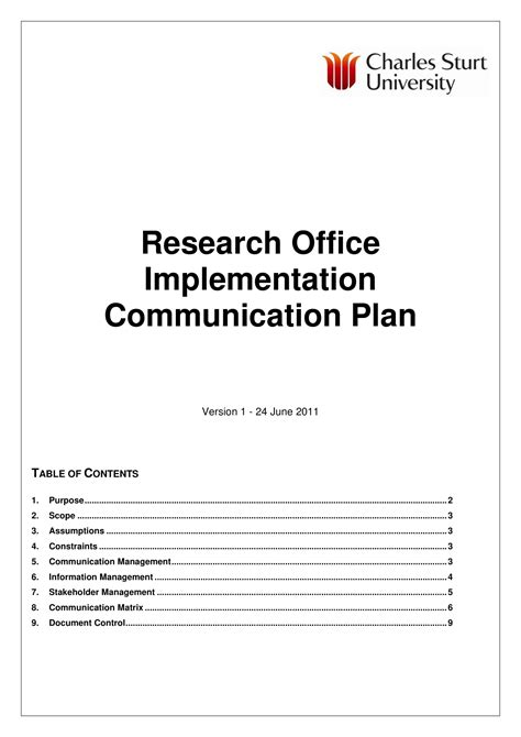 research office implementation communication plan