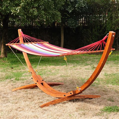 Wooden Hammock by Wooden Curved Arc Hammock Stand With Cotton Hammock