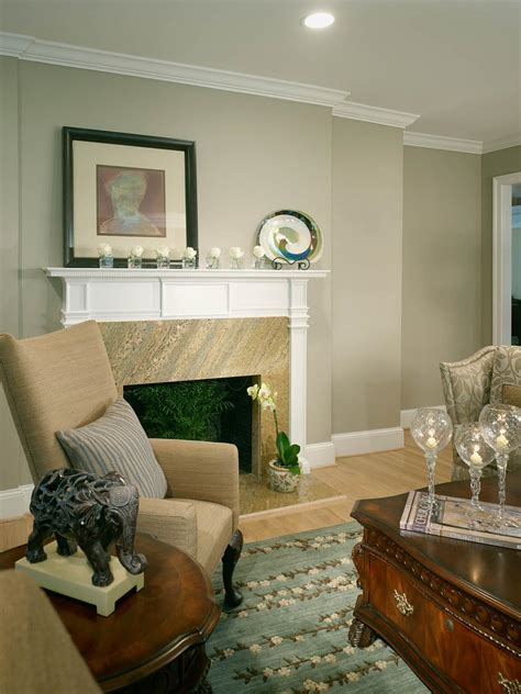 traditional neutral living room  fireplace hgtv