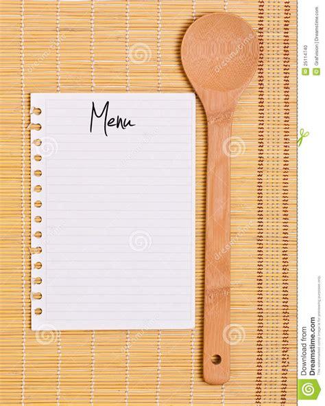blank menu wooden spoon whit blank menu stock photo image 25114740