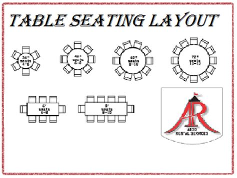 abso rental services inc table seating layout linen