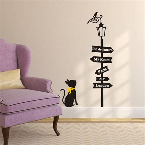 lamp wall sticker cat   lamp wall decals children