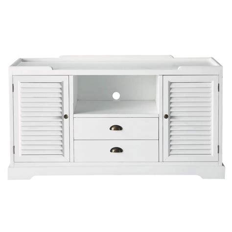 meuble tv 140 cm meuble tv en bois blanc l 140 cm barbade maisons du monde