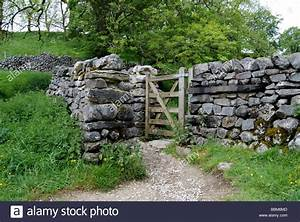 A gate in a dry stone wall near Malham Village in the ...