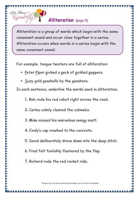 grade 3 grammar topic 33 alliteration worksheets lets