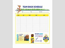 Snack Schedule Template 7+ Free Word, Excel, PDF