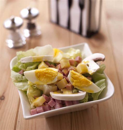 jeux de cuisine salade salade parisienne jambon chignons emmental oeufs durs