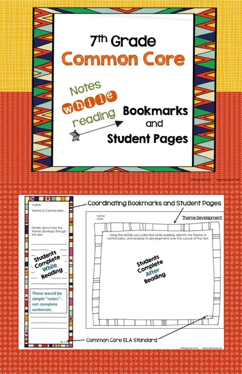 grade common core notes  reading bookmarks