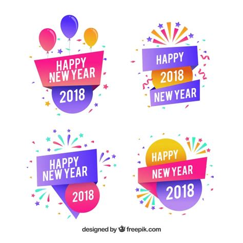 colors for new years new year 2018 badge collection in colors vector