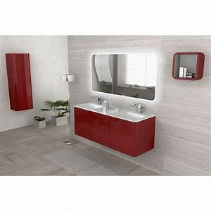 meuble de salle de bain rouge 140 cm ceylan castorama With salle de bains rouge
