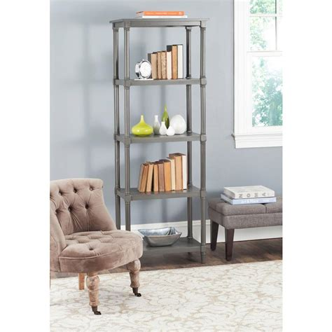 safavieh home safavieh odessa gray open bookcase amh5721a the home depot